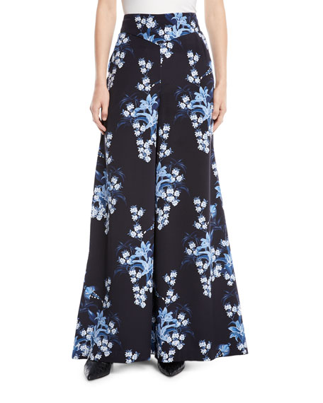 Johanna Ortiz Dream State High-Waist Flared Wide-Leg Floral-Print