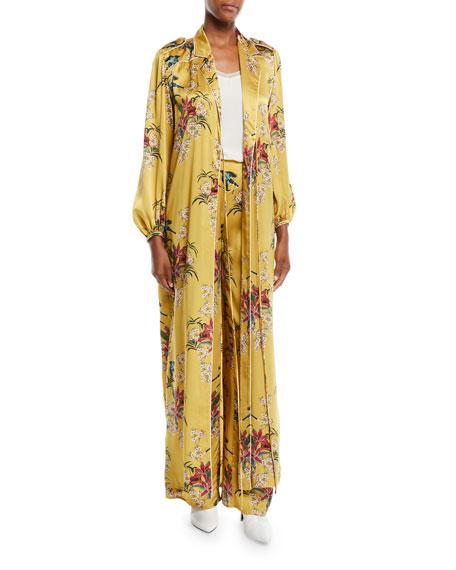 The Flower Queen Long-Sleeve Tie-Front Silk Satin Kimono Jacket
