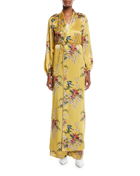 Johanna Ortiz The Flower Queen Long-Sleeve Tie-Front Silk