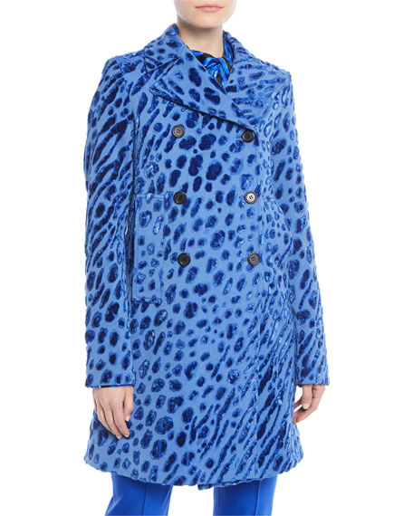 Velvet Tiger-Print Double-Breasted Coat