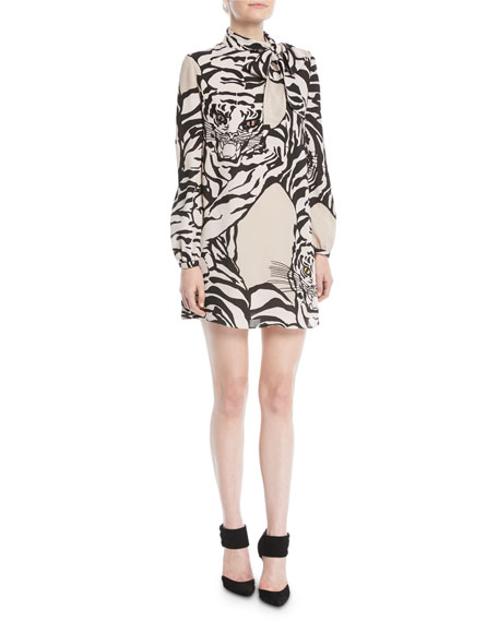 Long-Sleeve Short Tiger-Print Dress in Georgette Silk