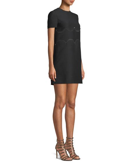 Short-Sleeve Crepe-Couture A-Line Dress w/ Rockstud Waist