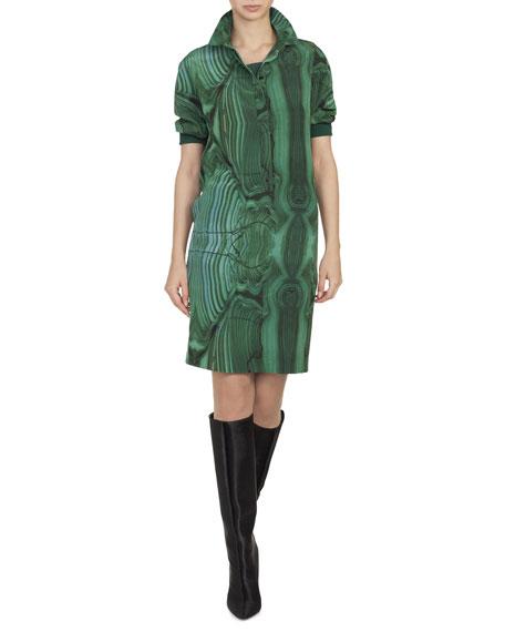 Malachite-Print Silk Button-Front Shirtdress