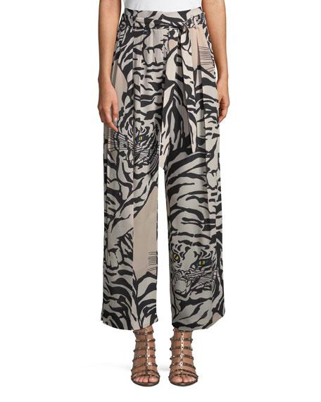 Pleated Printed Silk-Crepe Straight-Leg Pants, Beige