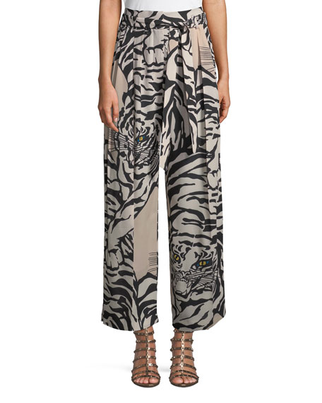 Tiger-Print Silk Pull-On Pants