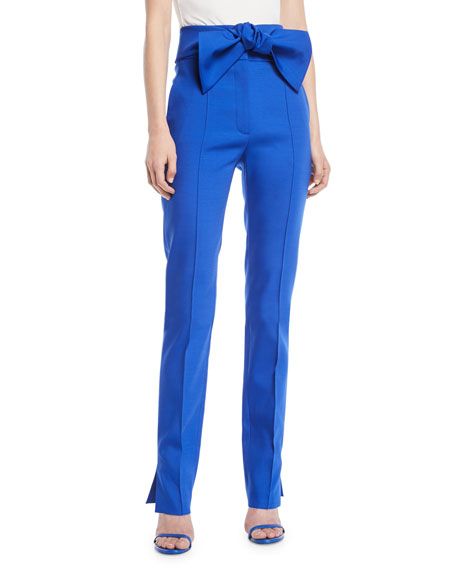 Wool-Blend Stretch Pants w/ Bow Tie Waist