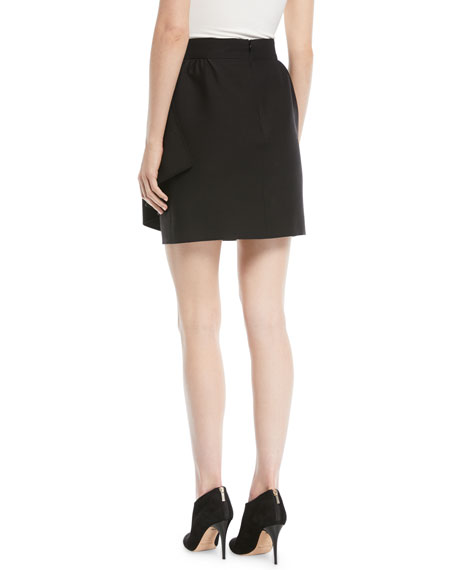 Crepe Mini Skirt w/ Side Ruffle
