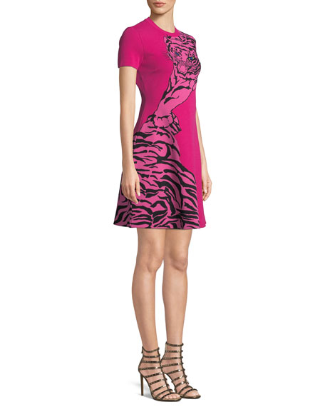 Short-Sleeve Tiger-Jacquard A-Line Mini Dress