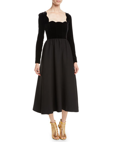 Scallop-Neck Long-Sleeve Velvet-Top Crepe Couture Evening Gown