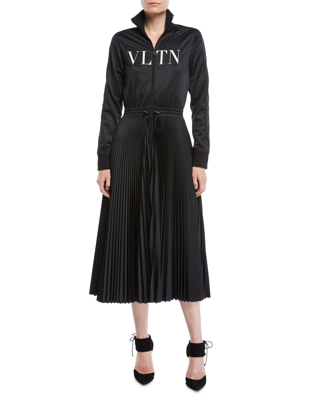 d9dc035f9aa3bc Valentino Long-Sleeve Zip-Front Jersey VLTN-Logo Plisse Bottom Mid-Calf