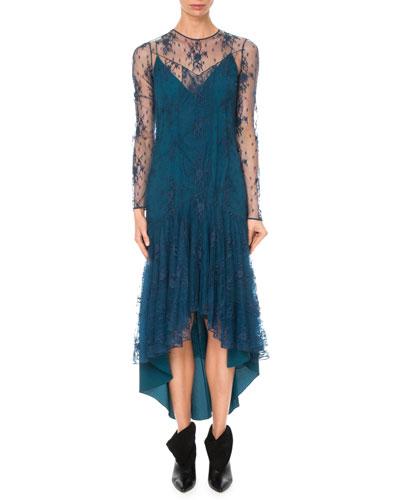 Long-Sleeve A-Line Lace Dress w/ High-Low Hem