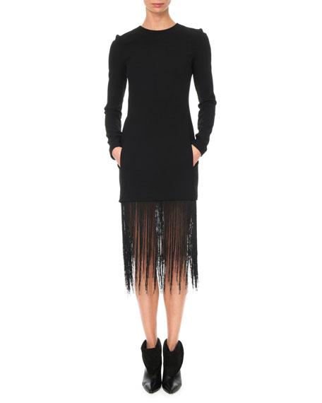 Givenchy Long-Sleeve Crewneck Sheath Wool Crepe Cocktail Dress w/ Fringe Hem
