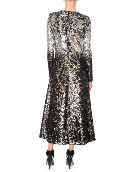 Givenchy Long-Sleeve A-Line Sequined Embroidered Long Cocktail Dress