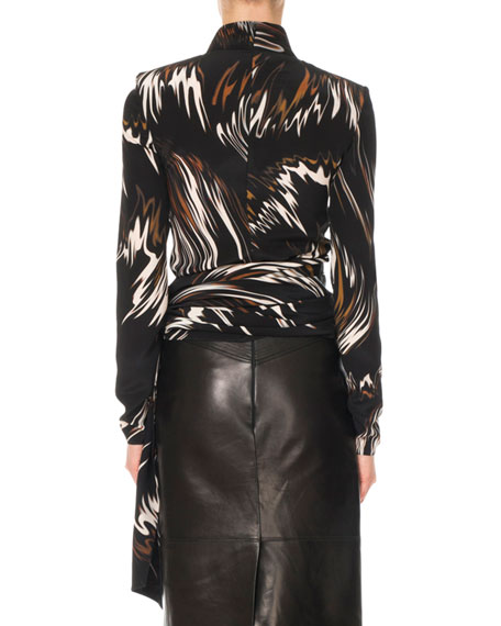 Givenchy Mock-Neck Long-Sleeve Wave-Print Blouse w/ Side Sash