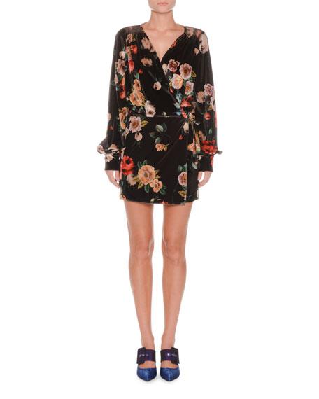 Long-Sleeve Floral-Print Velvet Mini Dress