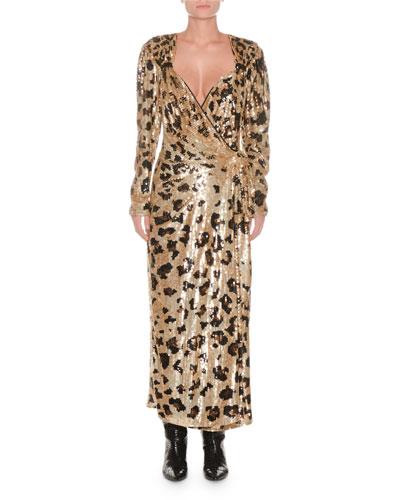 Long-Sleeve Wrap-Front Leopard-Sequin Evening Dress
