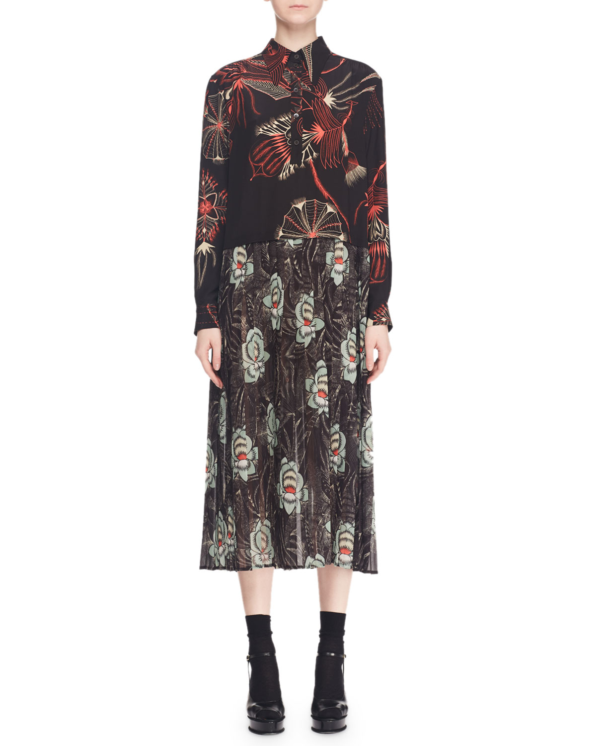 993db18a8a Dries Van NotenDecuman Long-Sleeve Collared Mixed Floral-Print Silk Midi  Dress
