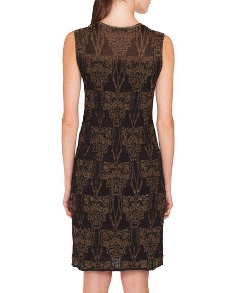 Sleeveless Fruits of Vienna Jacquard Metallic Knit Knee-Length Dress