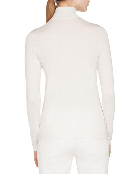 Slit Mock-Neck Long-Sleeve Cashmere-Silk Knit Pullover Top