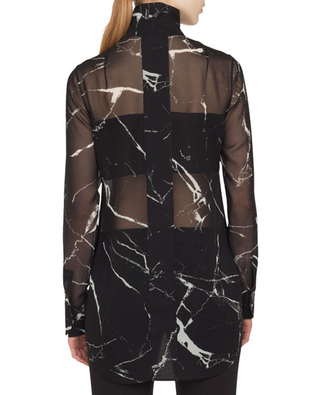 Long-Sleeve Zip-Front Marble Tiles Print Silk Crepe Tunic Blouse