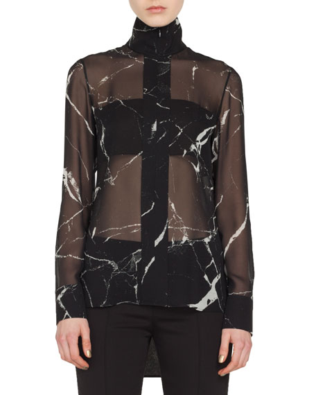 Akris Long-Sleeve Zip-Front Marble Tiles Print Silk Crepe