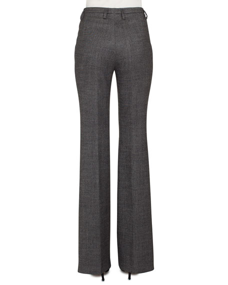 Farrah Boot-cut Leg Stretch-Wool Tweed Pants