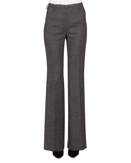 Akris Farrah Boot-cut Leg Stretch-Wool Tweed Pants