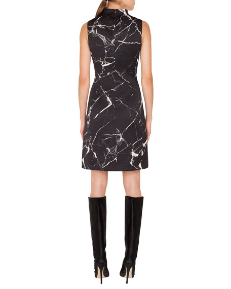 Sleeveless Mock-Neck Marble Tiles Jacquard A-Line Cocktail Dress