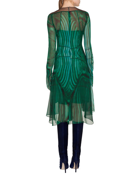 Draped-Sleeve A-Line Malachite-Print Silk Crepe Dress w/ Slits