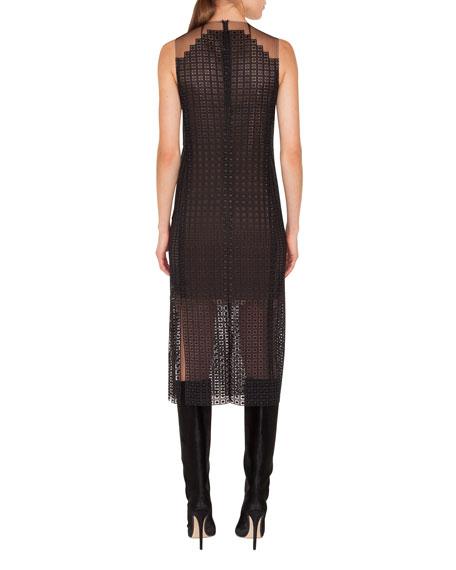 Halter-Illusion Sleeveless Metal-Stud Embroidered Dress w/ Carwash Sides