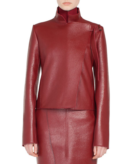 Steffon Mock-Neck Asymmetric Front Panel Deer-Leather Short Jacket