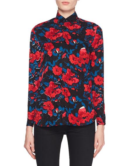 Button-Front Floral-Jacquard Silk Classic Blouse