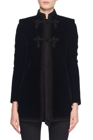 Saint Laurent Mandarin-Collar Frog-Closure Velvet Coat w/ Border Trim