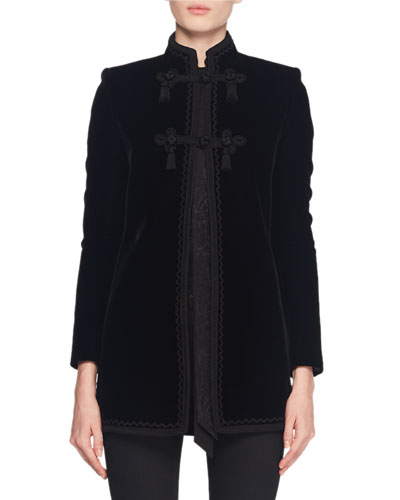 Mandarin-Collar Frog-Closure Velvet Coat w/ Border Trim