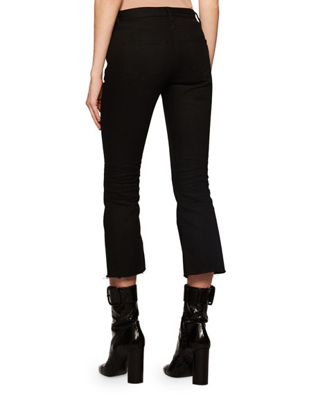 Flared-Leg Cropped Jeans w/ Raw Hem