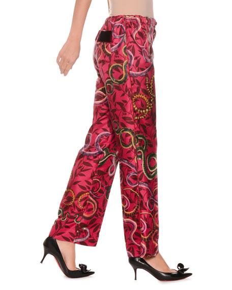 Geometric Snake-Print Silk Satin Pajama Pants