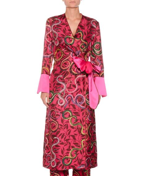 FRS BY FRANCESCA RUFFINI Geometric Snake-Print Self-Tie Silk Satin Robe in Red Pattern