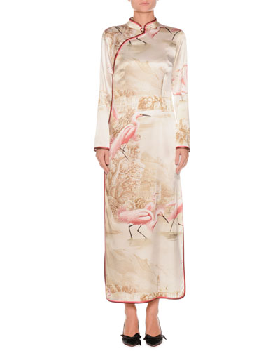 Flamingos on Lake Long-Sleeve Side-Split Silk Kimono Gown