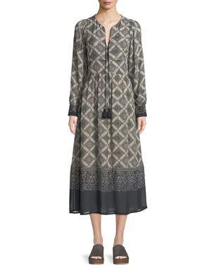 6c817484d89 Figue Tie-Neck Long-Sleeve Bahia Tile-Print A-Line Calf-