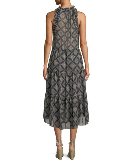 Babriella Sleeveless Tassel-Tie Printed Georgette Dress