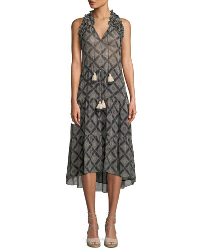 Babriella Sleeveless Tassel-Tie Printed Georgette Dress