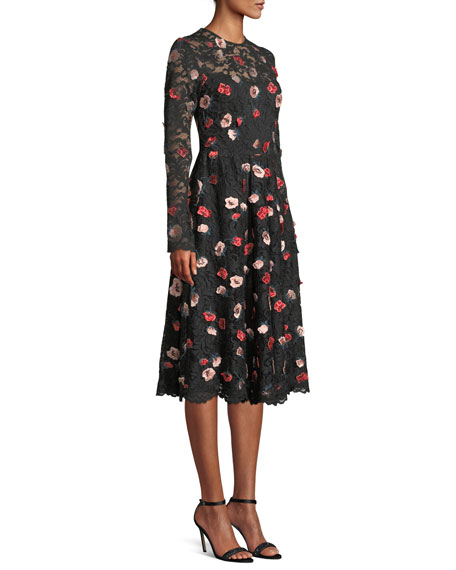 Long-Sleeve Fit-and-Flare Floral-Embroidered Lace Dress