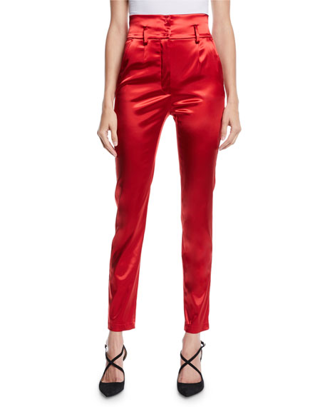 High-Waist Straight-Leg Stretch-Satin Pants