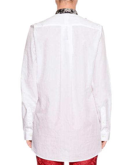 Long-Sleeve Poplin Shirt w/ Detachable Contrast Bow