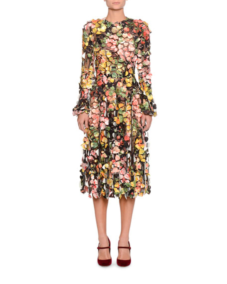 Dolce & Gabbana Long-Sleeve Heart-Patch Embroidered On Tulle Mid-Calf Daytime Dress
