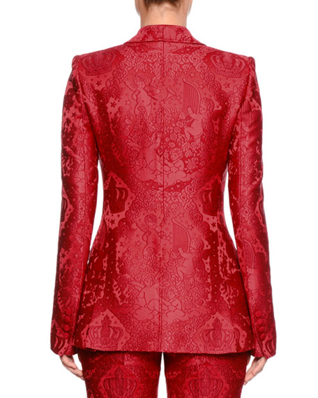 Single-Breasted Shawl-Collar Cherub-Jacquard Jacket