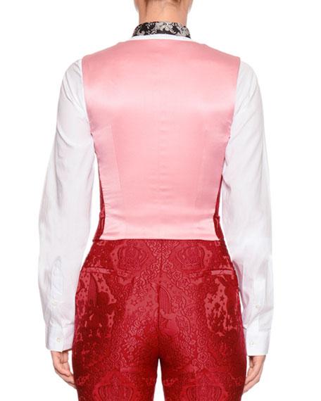 Cherub-Jacquard V-Neck Button-Front Vest