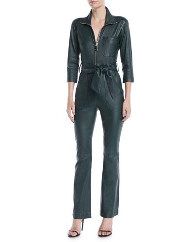 Emma Zip-Front 3/4-Sleeve Lamb Leather Straight-Leg Jumpsuit