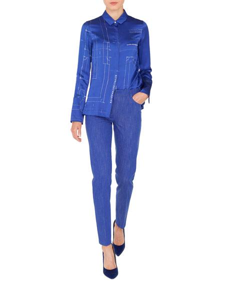Button-Front Long-Sleeve Blueprint Silk Satin Blouse