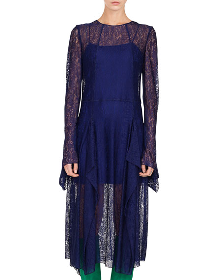 Long-Sleeve Round-Neck Draped Lace Dress w/ Panel Slits